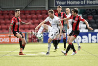 11th July 2019. Europa league First round qualifying match between Crusaders and B36 Torshavn at Seaview Belfast.. Crusaders  Philip Lowry in action with Torshavns Eli Nielsen. Mandatory Credit / Stephen Hamilton/Inpho