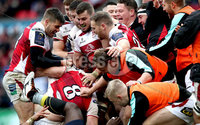 European Rugby Champions Cup Round 5, Kingspan Stadium, Belfast 13/1/2018. Ulster vs La Rochelle. Ulster\'s Nick Timoney celebrates his try with teammates. Mandatory Credit ©INPHO/Ryan Byrne