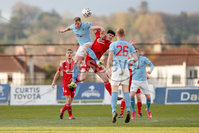 Sadler\'s Peaky Blinders Irish Cup First Round. The Showgrounds, Ballymena, Northern Ireland 27/4/21. Ballymena United vs Portadown. Ballymenas Leroy Millar and Portadowns Barney McKeown. Mandatory Credit INPHO/PressEye/Philip Magowan