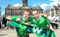 ©Press Eye Ltd Northern Ireland - 1st June 2012. Mandatory Credit - Picture by Darren Kidd/Presseye.com .  .  Northern Ireland fans in Amsterdam ahead of their international friendly against the Netherlands on Saturday evening.. Northern Ireland fans  Robert Nethery and Neil Bradshaw