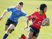 Press Eye Belfast - Northern Ireland 14th March 2019. Danske Bank U16High Schools Trophy Final. Craigavon High School(red) Vs Ballyclare Secondary School. . Craigavon\'s Bailey Armitage pushes forward to score a try. . Picture by Jonathan Porter/PressEye.com