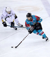 Press Eye - Belfast -  Northern Ireland - 12th January 2018 - Photo by William Cherry/Presseye. Belfast Giants David Rutherford with Nottingham Panthers Robert Lachowicz during Friday nights Elite Ice Hockey League game at the SSE Arena, Belfast.