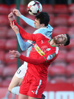 Press Eye - Belfast - 6th January 2018  . Cliftonville v Warrenpiont Town, Tennents Irish Cup 5th round at Solitude, North Belfast.. Cliftonville\'s Joe Gormley in action with Warrenpiont Town\'s Danny Wallace. Picture by Matt Mackey / Inpho.ie