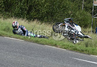 PressEye-Northern Ireland- 9th August 2018-Picture by Brian Little/ Double Red. Ulster Grand Prix Practice . David Johnston TYCO BMW Motorrad HP4 Race crashes at Lindsay Hairpin during  Superbike  practice  practice for the Ulster Grand Prix races around the Dundrod 7.4 mile circuit. . Picture by Brian Little/Double Red