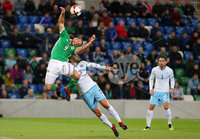 Press Eye Belfast - Northern Ireland 11th September 2018. International Challenge match at the National Stadium at Windsor Park in Belfast.  Northern Ireland Vs Israel. . Northern Ireland\'s Conor Washington with Israel\'s Nisso Kapiloto.. Picture by Jonathan Porter/PressEye.com