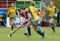 ©Press Eye Ltd Northern Ireland - 6th May 2012 - Mandatory Credit - Picture by Matt Mackey/presseye.com. Loreto v Railway Union in the Irish Hockey League final at Lisnagarvey hockey club.. Loreto\'s Lizzie Colvin in action with Railway\'s Julia O\'Halloran.