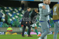 Press Eye - Belfast - Northern Ireland - 12th November 2020. European Qualifier. Northern Ireland v Slovakia. Northern Ireland\'s Josh Magennis and Ian Baraclough.. Picture: Philip Magowan / Press Eye