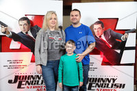 Press Eye - Belfast - Northern Ireland - 30th September 2018 - . David, Alannah and Charlie McCombe pictured at Movie House Dublin Road for a special preview screening of upcoming comedy, JOHNNY ENGLISH STRIKES AGAIN, in cinemas across Northern Ireland from Friday 5th October.. Photo by Kelvin Boyes / Press Eye..