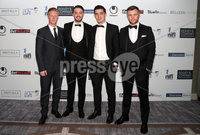 Press Eye - Belfast - Northern Ireland - 13th May 2019 . Northern Ireland Football Awards at the Crowne Plaza Hotel, Belfast. . Photo by Declan Roughan / Press Eye.. (L-R) Linfields Chris Casement, Josh Robinson, Jimmy Callacher and Niall Quinn.. .