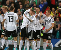 Press Eye - Belfast - Northern Ireland - 9th September 2019 - Picture Matt Mackey / Press Eye.. EURO qualifier 2020 Stadium at Windsor Park, Belfast. Northern Ireland Vs Germany.. Germany\'s Marcel Halstenberg celebrates scoring .