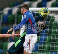 Danske Bank Premiership, Windsor Park, Belfast 2/12/2017 . Linfield vs Dungannon Swifts. Linfield\'s Mark Stafford and Stuart Addis of Dungannon Swifts. Mandatory Credit ©INPHO/Brian Little