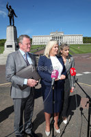 Press Eye - Stormont - 14th May 2019. Photograph by Declan Roughan. Sinn Feinn\'s Conor Murphy, Michelle O\'Neill and Martina Anderson