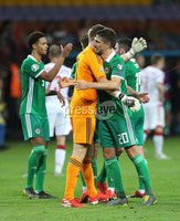 Press Eye - Belfast -  Northern Ireland - 11th June 2019 - Photo by William Cherry/Presseye. Northern Ireland\'s Bailey Peacock-Farrell and Craig Cathcart after defeating Belarus 1-0 during Tuesday nights UEFA EURO 2020 Qualifier at the Borisov Arena, Belarus.      Photo by William Cherry/Presseye