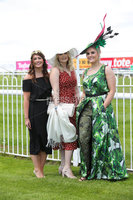 Press Eye - Belfast - Northern Ireland - 22nd June 2019 - . Summer Festival Of Racing Day 2 at Down Royal Racecourse.. Zara Hancock, Megan Magill and Katherine Walsh pictured at Down Royal Racecourse.. Photo by Kelvin Boyes / Press Eye.