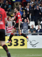 11th July 2019. Europa league First round qualifying match between Crusaders and B36 Torshavn at Seaview Belfast.. Crusaders Philip Lowry celebrates after scoring to make it 2-0 . Mandatory Credit / Stephen Hamilton/Inpho