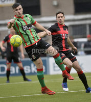 Danske Bank Premiership, Seaview Belfast.. 10/02/2018.  Crusaders v Glentoran. Crusaders Alex OHanlon  in action with Glentorans Sean Ward. Mandatory Credit ©INPHO/Stephen Hamilton.