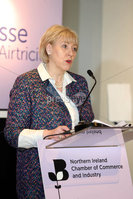 Mandatory Credit ©Matt Mackey / Presseye.com. NO PICTURE FEE. Minister Heather Humphreys TD pictured at NI Chamber Business Briefing in Belfast this morning in Titanic Belfast.