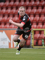 Danske Bank Premiership, Seaview Belfast.. 10/02/2018.  Crusaders v Glentoran. Crusaders Jordan Owens celebrates after scoring to make it 1-1. Mandatory Credit ©INPHO/Stephen Hamilton.