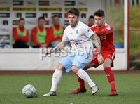9th May 2018. Europa league play off semi final match between Cliftonville and Ballymena United at Solitude in Belfast.. Cliftonvilles Tomas Cosgrove  in action with Ballymena\'s Cathair Friel . Mandatory Credit ©Inpho/Stephen Hamilton