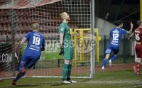 9th January 2021. Danske Bank Premiership, Solitude, Belfast . Cliftonville vs Crusaders. Cliftonville\'s  keeper Aaron Mccarey looks dejected after Crusaders grab a draw in the last minute. Mandatory Credit INPHO/Stephen Hamilton