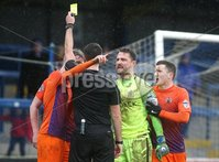 Danske Bank Premiership, The Showgrounds, Co. Derry 10/2/2018. Coleraine vs Glenavon. Glenavon\'s players remonstrate with referee Ian McNabb, as he books Caolan Marron and awards a penalty. Mandatory Credit ©INPHO/Lorcan Doherty
