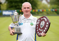 Press Eye Belfast - Northern Ireland 14th July 2017. Bangor Open Bowls Competition at Bangor Bowling Club. . Robert Hastings from Bangor Bowling Club who won the Men\'s Singles competition and overall player of the tournament. (He is pictured with singles trophy and overall player shield.). Picture by Jonathan Porter/PressEye.com.