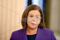27th October 2018 - Picture by Matt Mackey / PressEye.com. Sinn Fein leader Mary Lou McDonald talks to the media in Parliament building, Stormont, Belfast