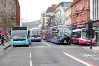 Press Eye - Belfast - Northern Ireland - 8th April 2021. Translink bus drivers bring Belfast city centre to a stand still.. Last night a hijacked bus was set alight at the junction of Lanark Way and the Shankill Road following a protest, with crowds gathering there and at West Circular Road at its junction with the Springfield Road.. Photo by Kelvin Boyes / Press Eye.