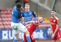 Danske Bank Premiership, Solitude, Belfast 14/4/2018 . Clliftonville vs Glenavon. Clliftonville\'s Rory. Donnelly in action with Glenavon\'s Simon. Kelly. Mandatory Credit ©INPHO/Matt Mackey