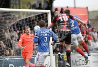 . Danske Bank Premiership Play-Off, Seaview, Belfast 14/4/2018 . Crusaders vs Linfield. Mandatory Credit ©INPHO/Stephen Hamilton. Crusaders Jordan Owens heads home to make it 2-0