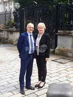 Monday 17th June 2019 . Press Eye Northern Ireland. Former Tyrone GAA County board chairwoman Roisin Jordan has just settled her libel action  over an article criticising her for cost-cutting measures.  Pictured outside the High Court with her solicitor Adrian O\'Kane