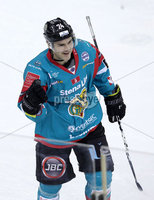Press Eye - Belfast -  Northern Ireland - 12th January 2018 - Photo by William Cherry/Presseye. Belfast Giants Jonathan Ferland celebrates scoring against Nottingham Panthers during Friday nights Elite Ice Hockey League game at the SSE Arena, Belfast.