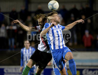 Bet Mclean league cup 3rd round . 8th October 2019. Coleraine  v Glentoran ay Ballycastle road, Coleraine. Coleraines Stephen Lowry in action with Glentorans Joe Crowe. Mandatory Credit INPHO/Stephen Hamilton.