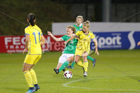 PressEye - Belfast - Northern Ireland - 05th October 2018. Pictured: Northern Ireland\'s Caitlyn Hamilton and Kosovo\'s Leonora Ejupi.. Picture: Philip Magowan / PressEye