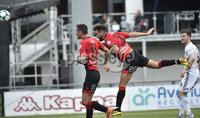 11th July 2019. Europa league First round qualifying match between Crusaders and B36 Torshavn at Seaview Belfast.. Crusaders Michael Hegarty heads his side into a 1-0 lead. Mandatory Credit / Stephen Hamilton/Inpho