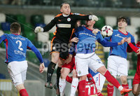 Tennent\'s Irish Cup Quarter-Final, Windsor Park, Belfast 13/3/2018 . Linfield vs Cliftonville. Cliftonville\'s goalkeeper Brian Neeson clears the ball after a Linfield corner. . Mandatory Credit ©INPHO/Jonathan Porter