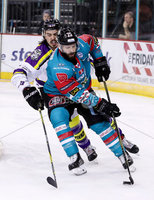 Press Eye - Belfast -  Northern Ireland - 11th February 2018 - Photo by William Cherry/Presseye. Belfast Giants Blair Riley with Manchester Storm\'s Dallas Ehhrhardt during Sunday afternoons Elite Ice Hockey League game at the SSE Arena, Belfast.