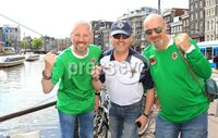 ©Press Eye Ltd Northern Ireland - 1st June 2012. Mandatory Credit - Picture by Darren Kidd/Presseye.com .  .  Northern Ireland fans in Amsterdam ahead of their international friendly against the Netherlands on Saturday evening.. Northern Ireland fans, Keith and Peter Monroe with Geoff Bell
