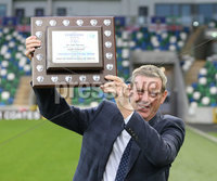PressEye-Northern Ireland- 18th April 2017-Picture by Brian Little/PressEye. Former Linfield player Billy Murray was presented the Torrans Trophy and inducted into the Linfield Hall of Fame before Tuesday\'s match against Glenavon at Windsor Park.. Picture by Brian Little/PrerssEye