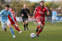 Sadler\'s Peaky Blinders Irish Cup First Round. The Showgrounds, Ballymena, Northern Ireland 27/4/21. Ballymena United vs Portadown. Ballymenas Trai Hume and Portadowns Ben Tilney. Mandatory Credit INPHO/PressEye/Philip Magowan