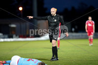 Sadler\'s Peaky Blinders Irish Cup First Round. The Showgrounds, Ballymena, Northern Ireland 27/4/21. Ballymena United vs Portadown. Referee Steven Gregg awards Ballymena a penalty. Mandatory Credit INPHO/PressEye/Philip Magowan