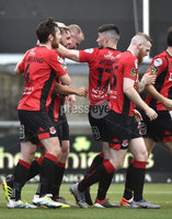 11th July 2019. Europa league First round qualifying match between Crusaders and B36 Torshavn at Seaview Belfast.. Crusaders Michael Hegarty celebrates after he  heads his side into a 1-0 lead. Mandatory Credit / Stephen Hamilton/Inpho