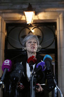 Press Eye - Belfast - Northern Ireland - 12th February 2018 - . Northern Ireland Talks at Stormont House, Belfast .  Prime Minister Theresa May pictured during a press conference at Stormont House.. Photo by Kelvin Boyes / Press Eye..