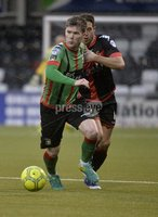 Danske Bank Premiership, Seaview Belfast.. 10/02/2018.  Crusaders v Glentoran. Crusaders Sean Ward  in action with Glentorans Peter McMahon . Mandatory Credit ©INPHO/Stephen Hamilton.