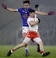 McKenna Cup, Kingspan Breffni Park, Co. Cavan 10/1/2018. Cavan vs Tyrone. Cavan's Niall McKiernan with Matthew Donnelly of Tyrone. Mandatory Credit ©INPHO/Tommy Dickson