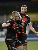 . Danske Bank Premiership, Seaview, Belfast 13/1/2018. Crusaders vs Ards. Crusaders Jordan Owens celebrates after his injury time goal won it for the Crues 1-0. Mandatory Credit ©INPHO/Stephen Hamilton