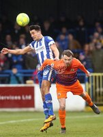 Danske Bank Premiership, The Showgrounds, Co. Derry 10/2/2018. Coleraine vs Glenavon. Coleraine\'s Aaron Traynor and Glenavon\'s Andrew Hall. Mandatory Credit ©INPHO/Lorcan Doherty