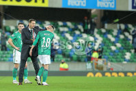 Press Eye - Belfast - Northern Ireland - 12th November 2020. European Qualifier. Northern Ireland v Slovakia. Northern Ireland\'s Ian Baraclough and Gavin Whyte.. Picture: Philip Magowan / Press Eye