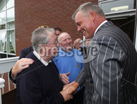 PRESS EYE-BELFAST-NORTHERN IRELAND. Conferement of the Freedom of the Borough by Dungannon and South Tyrone Council today.Darren Clarke received the freedom of his home town Dungannon during a special ceremony held in recognition of his achievements in world golf.. Welcoming to Dungannon Golf Club is member Paddy Greene. Pic : BrianThompson/Presseye.com