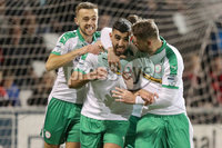 Danske Bank Premiership 5/10/2018. Crusaders vs Cliftonville. Cliftonville\'s Joe Gormley celebrates scoring with teammates. Mandatory Credit INPHO/Declan Roughan